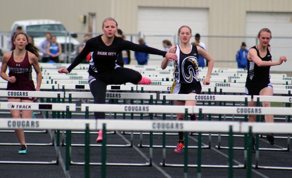 Photo courtesy of Kim Flemmer,  Pictured from the left are Lady Panthers Rayna Laakso and Shelby Branstetter as they compete in the 100 meter hurdles in the Sunshine Meet.