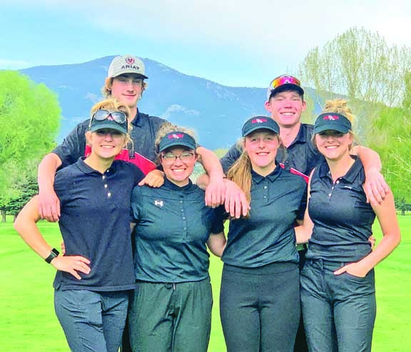 The Park City golfers who qualified for the State C Tournament at Riverside Country Club in Bozeman last week. In the back are Mason Rathbun (T–25) and Tucker Johnstone (4th). In the front are Addie Baker (64th), Tessa McNeil (24th), Halle Larson (48th) and Kendyll Story (55th). Johnstone earned All–State honors with his 4th place finish. Photo courtesy Kris Johnstone