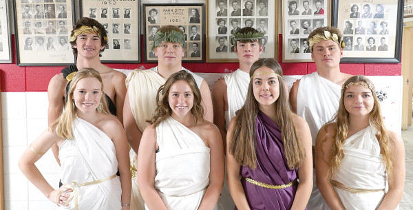 Outlook photo by Chris McConnell                        The 2019 Park City Homecoming Royalty at the high school yesterday on toga day. Back row from the left are Corbin Downing, Austin Dennis, Troy Fiscarelli and Carson Baker. In the front are Madison Miller, Sydney Kluth, Hayley Story and Alexis Goldy.