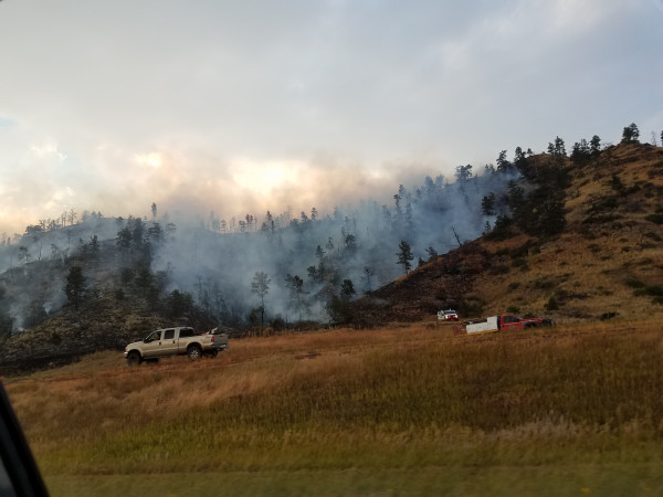 Photo courtesy of Gene Gilluly. The Beartooth Vista Fire near Columbus as seen from Interstate 90, threatened homes and travel. The fire which began Saturday has flared up several times since then. Laurel firefighters were part of the crew that put the blaze out.