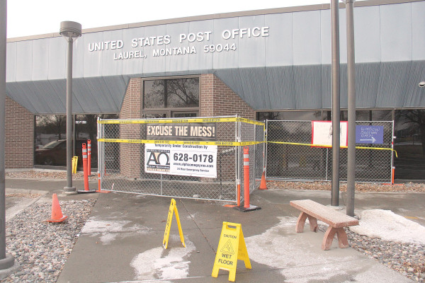 The Laurel Post Office after a juvenile set fire to the lobby causing more than $100,000 in damage. The 13–yearold Laurel resident was arrested on multiple charges of setting the post office fire and attempting to burn down Walmart.