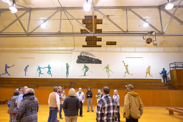 Laurel School Board trustees and school administrators discuss the ongoing challenges in maintaining the former Middle School gym on Monday night.