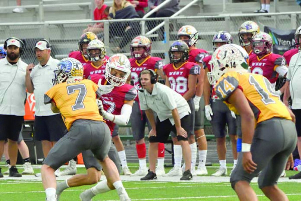Eli Aby blocks a offensive player during the East–West Shrine game on Wendy's Field at Daylis Stadium on Saturday.