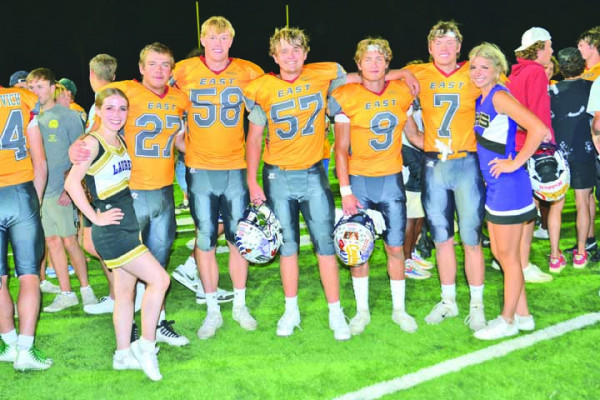 The five Laurel High School players and two cheerleaders selected for the East–West Shrine game on Saturday. From the left are Madelynn Hust, James Ochs, Colter Bales, Connor Ulschak, Jack Waddell, Eli Aby and Keeli Harris. Photos courtesy Gloria Allwin