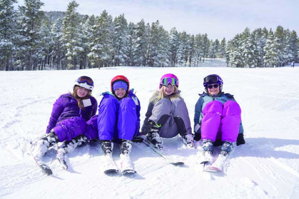 These four Laurel Middle School students were having a blast at Red Lodge Mountain during their annual ski club trip. Outlook photo by Chris McConnell