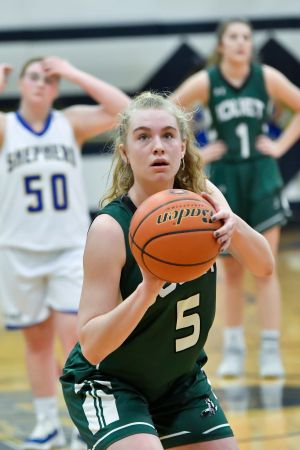 Photos courtesy of Gloria Allwin Skylar Wright focuses in position for her free throw in game five against Shepard on Saturday, Feb. 22.
