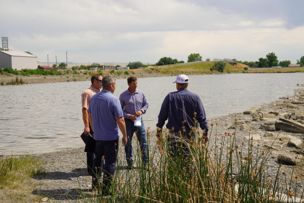 Laurel Public Works Director Kurt Markegard (center) met with representatives from KLJ Engineering and Weave Construction at South Pond last week to discuss the Lions Club Park improvements which are tentatively scheduled to be completed by early September. Outlook photo by Chris McConnell