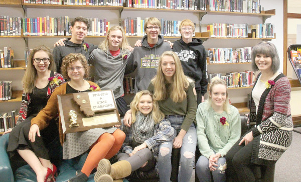 Members of the LHS State Champion Speech Drama and Debate team in the school library. The entire team won the Class A Drama Sweepstakes for the first time in 21 years and took third in the Class A Speech Sweepstakes.