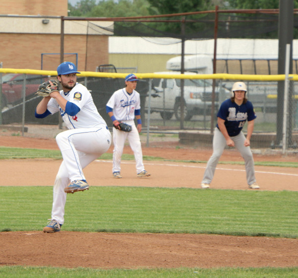 Carson West winds up for a pitch against the Miles City Mavericks.