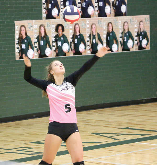 Outlook photo by Connor Waddingham                        Sophia Timm right before she serves the ball against the Billings Central Lady Rams.