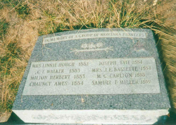 The headstone that sits at the base of Square Butte recognizes the two white men killed by Piegans after they tried retrieving their stolen horses, as well as several other pioneering Park City-area homesteaders. Courtesy photo