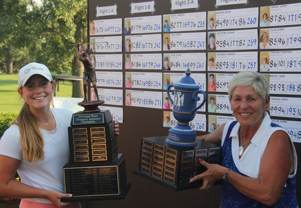 Montana Women's State Amateur Champion, Teigan Avery of Kalispell, and Montana State Women's Senior Amateur Champion, Sue Matson of Laurel, at the awards presentation Saturday evening at Laurel Golf Club. Avery, a University of Montana sophomore, won her first Amateur title, while Matson, of Laurel, won her fourth Senior Amateur title.