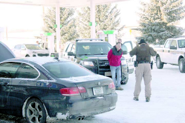 One for the good guys. Outlook photo by Chris McConnell. A multi-agency response converged on the TA truckstop just east of Laurel to arrest a car thief who was spotted on the freeway. The thief was easily nabbed and taken into custody with help from a number of deputies from Yellowstone County Sheriff's Office. The BMW shown is the car deputies recovered.