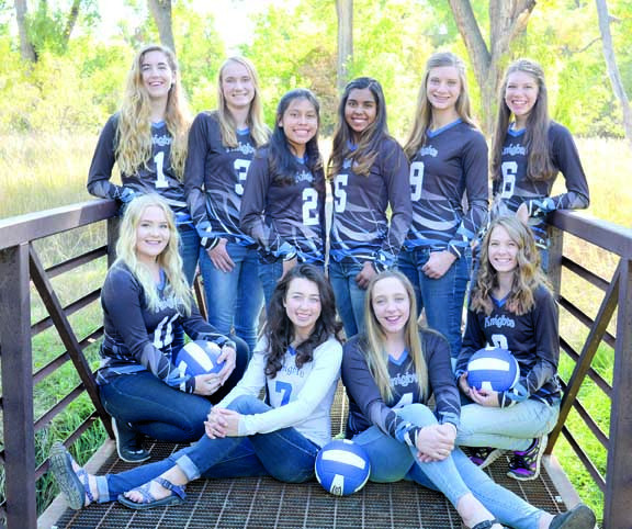 Courtesy photo.  The Yellowstone County Homeschool Knight volleyball team took third place at the Montana Christian Athletic Association State tournament last week in Kalispell. Laurel team members are #9 Kelsey Beck, junior (back row, second from right), and #7 Taylor Kroft, senior (front row in grey shirt). Kroft was also recognized as all-conference, all-tournament and all-state as the team's Libero.
