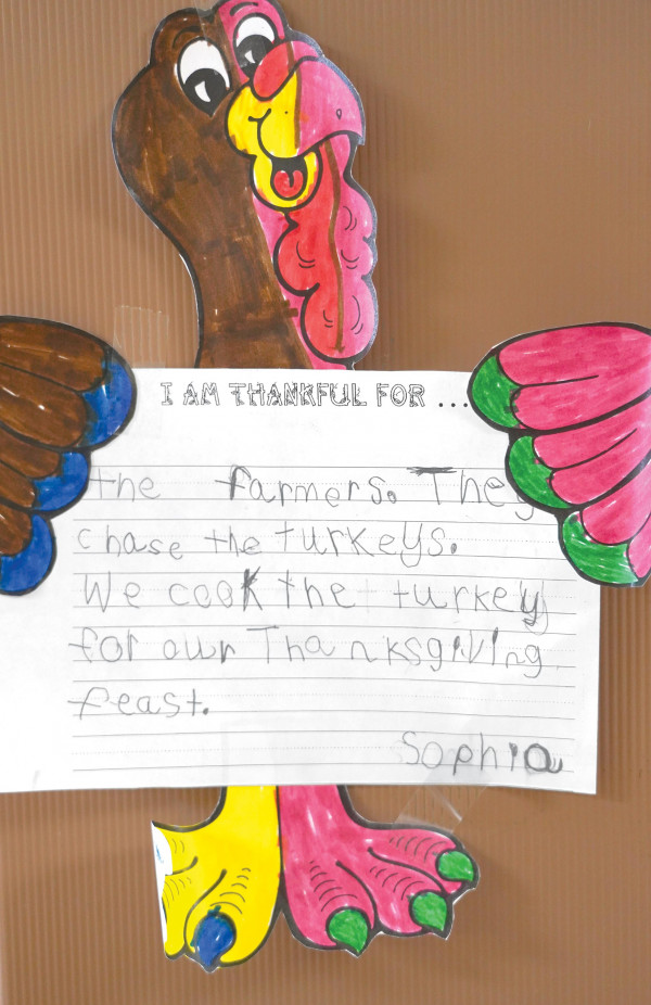 Sophia, a student at West Elementary School, created this beautiful work of art and wonderful message for Thanksgiving.