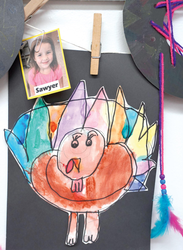 West School student Sawyer made a very colorful turkey!