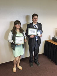 Jaiden Popoff and Tristin Willyard traveled to Helena for the finals of the Do the Write Thing Challenge.