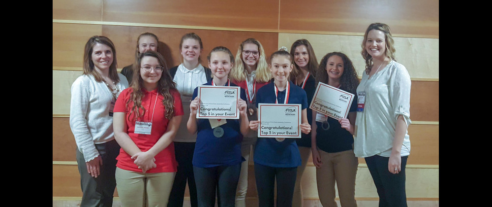 On March 21-22, eight Laurel Schools students competed in the State Family, Career and Community Leaders of America Conference in Bozeman on the MSU campus in Bozeman. Students placing were Lizzie Lehenbauer and Maggie Dolechek–Life Event Planning, Silver and top five of their category; Lindzy Jensen–Life Event Planning, Silver and top five of her category; Zoee Tripp–Food Innovations, Silver and top five of her category; Taylor Noble–Hospitality, Tourism and Recreation, Bronze. The students and advisors wh