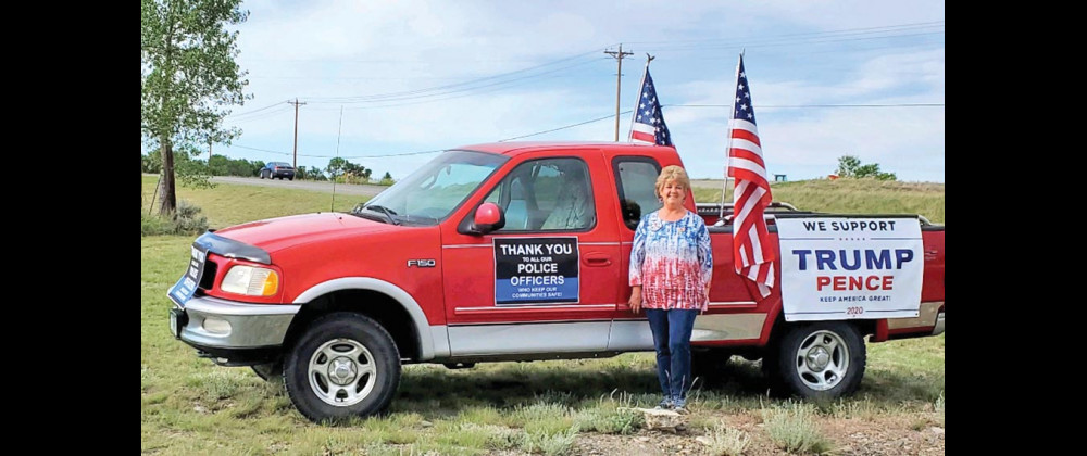 Peggy Miller, one of the organizers of the Freedom Drive, before the last Freedom Drive in Laurel. She is excited to brighten the spirits of folks who are missing the usual fanfare on the Fourth of July. Courtesy photo