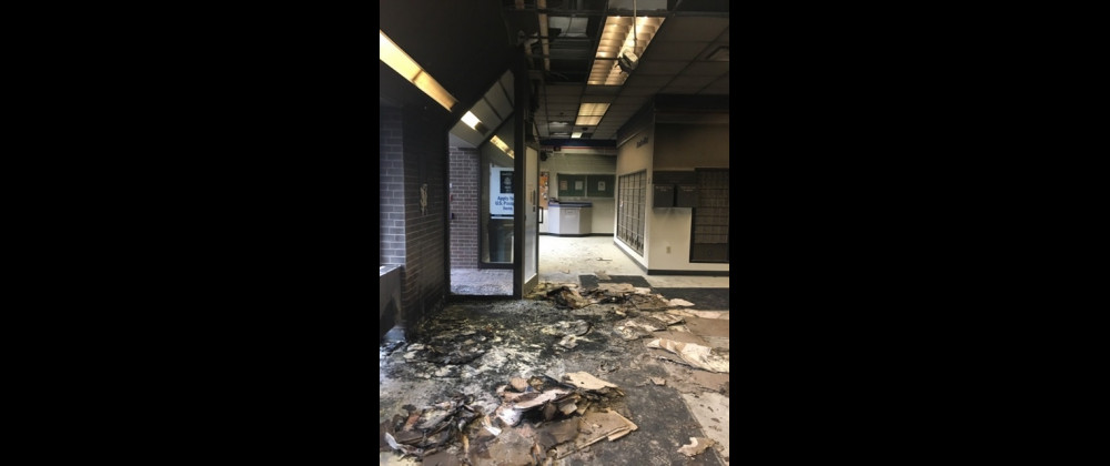 The damage to the lobby of the Laurel Post Office after an early morning blaze is seen in these USPS photos. The cause of the fire is unknown at this point. The building is closed until further notice but residents can get their mail by ringing the doorbell in the south parking lot.