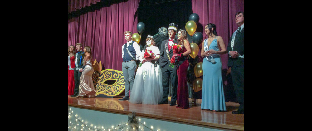 The 2019 Laurel Prom King, Queen, Prince and Princess are seen in this courtesy photo. From the left are Prom Prince Sebastian Anderson, Prom Queen Abigail Hillis, Prom King Chris Abell and Prom Princess Kylee Hoke.