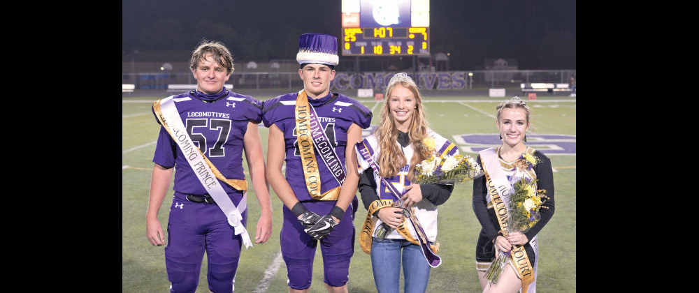 The 2020 LHS homecoming royalty at halftime of the Sidney versus Laurel game. Homecoming King and Queen Jace McNeil and Grace Timm in the center, and Prince and Princess Connor Ulschak and Madelynn Hust.