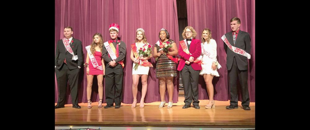 Winter formal candidates from the left are JT Giest, Jaela Hoppel, King Noah Gunther, Queen Jessica LeFevre, Princess Anna Temporal, Prince Levi Sharbono, and candidates Morgan Woody and Colter Given.                      Photo courtesy of V. Temporal