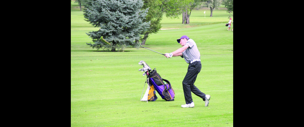 Nick Pasquarello is seen punching a wedge to six feet on the 10th hole at Laurel Golf Club during the Laurel Invite on Friday. He went on to shoot 74 and tie for 5th in the tournament. The Loco boys won the tournament by nine shots over Bozeman High.