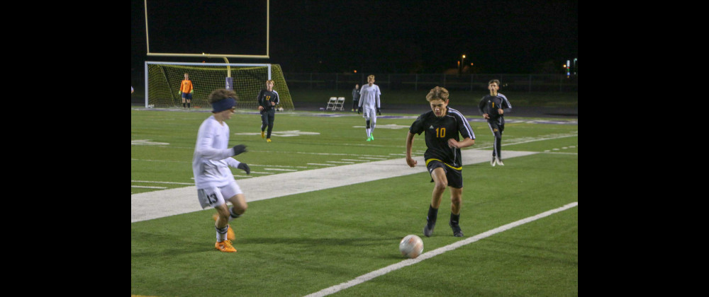 Ethan Meccage (#10) dribbles past a Billings Central defender down the sideline at the Laurel Sports Complex.