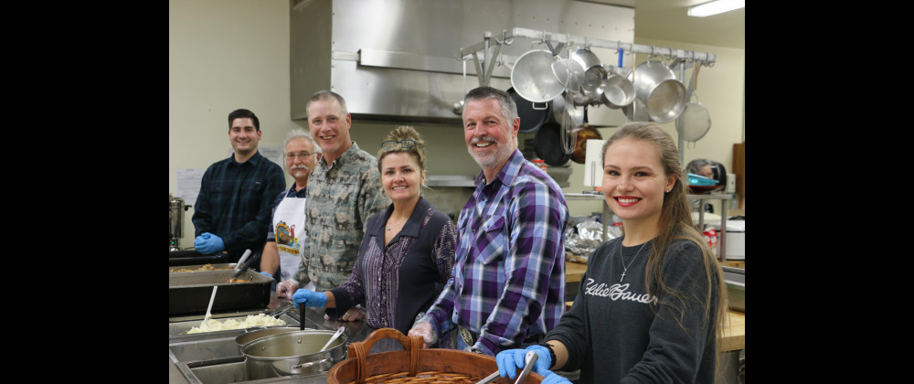 Volunteers worked for days in preparation for the Community Thanksgiving feast at St. Anthony's Catholic Church last Thursday. The dining hall was packed and everyone enjoyed the meal and fellowship. Volunteers Tristan Brandt, Leroy Haack, John Beck, Susan and Keith McNally and Emily Brandt had big smiles while serving up the main course.