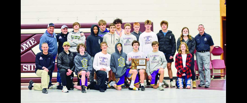 Back row from the left: Assistant Coach Mark Cloud, Assistant Coach Ryan Mayes, Tyler Emineth, Devon Isaacson, Connor Ulschak, Kade Wersland, Gabe Hernandez, Nate Lewis, Aiden Winder, Cam Johnson, Cole Younger, Manager Mazie Hill and Assistant Coach Mark Verlanic. Front row: Head Coach Ted Hill, John Herr, Peyton Waldo, Noah Michaelson, Dylan Wombolt, Owen Younger, Ashton Ulschak and Manager Madie Hill. Photos courtesy Wendi Michaelson