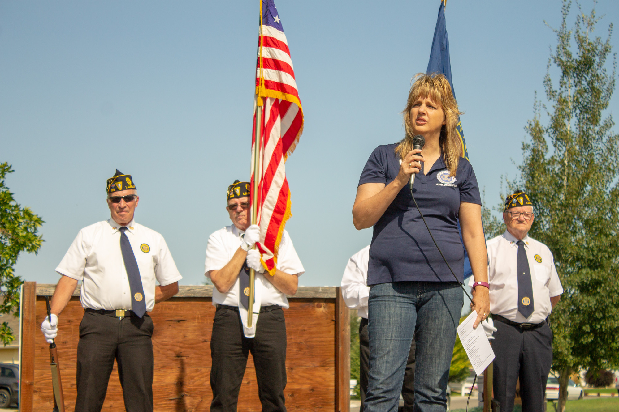Susan Walters in-front of the Color Guard during the Opening Ceremony of the Healing Field on Saturday, September 8.